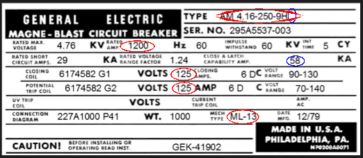 First nameplate image from a MAGNE-BLAST circuit breaker.