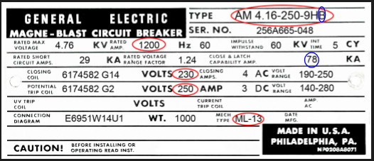 Second nameplate image from a MAGNE-BLAST circuit breaker.